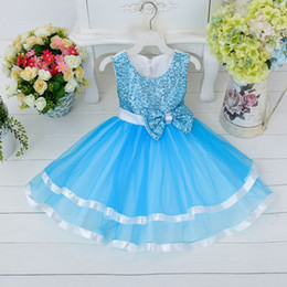 Wholesale Christmas Tutus Baby - 2015 baby fashion tutu dress girls lace princess dresses for party bowknot wedding dress kids christmas pageant dress toddler sequin gowns