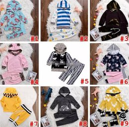 Wholesale Infant Girl Chevron - INS XMAS Spring Children Boys Girls Striped 2pc set Hooded outfits infant leopard chevron floral coat tshirt & girls boys striped short pant