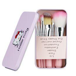 Wholesale Appliance Tools - Hello Kitty Makeup Brushes Set + Iron Case eyeshadow blush Brush Kit Make up Toiletry Beauty Appliances 7pcs set kids Cosmetic tools