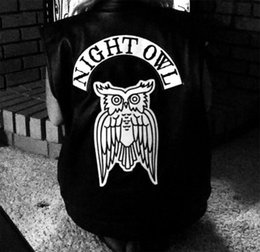 Wholesale Owl Back - HOT NIGHT OWL MOTORCYCLE COOL LARGE BACK PATCH ROCKER CLUB VESTOUTLAW BIKER MC PATCH FREE SHIPPING