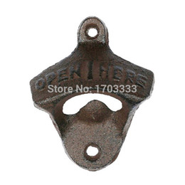 Wholesale Casting Hooks - 01# Wall Opener Hanging Hook Beer Bottle Openers Mount Copper Cap RUSTIC CAST IRON CAFE BAR WALL OPEN HERE Metal Retro #01