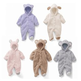 Wholesale Animal Jumpsuits - Cartoon Coral Fleece Newborn Baby Romper Costume Baby Clothes Animal Overall Menina Winter Warm Longsleeve Baby Rompers Jumpsuit