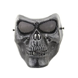 Wholesale Paintball Mask Airsoft - Full face gold silver masquerade Airsoft mascara terror Skull mask Warrior armor carnival Paintball biker mask scary Halloween Horror Mask