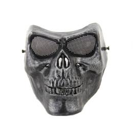 Wholesale Skull Mask Full - Full face gold silver masquerade Airsoft mascara terror Skull mask Warrior armor carnival Paintball biker mask scary Halloween Horror Mask