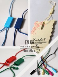 Wholesale Wholesale Apparel Hang Tags - High quality hang tag 16 color PP string in apparel, strings cord for garment hangtag seal tag with square plastic two heads 1000pcs