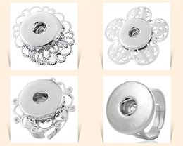 Wholesale Wholesale Alloy Rings Adjustable - NOOSA adjustable silver flower rings Chunk Snap Button Ring DIY Noosa ginger snaps interchangeable Jewelry for women