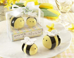 Wholesale Ceramic Baby Favors Wholesale - Free shipping+Mommy and Me Sweet as Can Bee Ceramic Honeybee Salt&Pepper Shakers 200pcs=100Set Lot baby shower favors and gifts