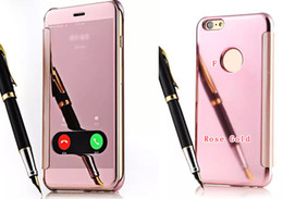 Wholesale Open Mirrors - Deluxe Open Window Mirror Bling Chromed Metallic PC +Leather Fashion Luxury Wallet Case For Iphone 7 6 6S 4.7 Plus Slide Answer Phone Pouch