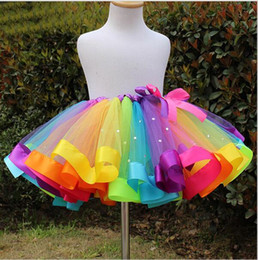 Wholesale Satin Gowns Skirts Petticoats - Cheap Colorful Baby Girls Rainbow Tulle Tutu Skirts Petticoats Children Performance Costumes Ball Gown Half Skirt Children's Skirts