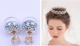 Wholesale Transparent Stud Earrings - Summer Style Glass Stud Earring 925 Silver Double Side Glass Ball Crown Earrings Transparent Crystal Earrings 2015 NEW Arrival