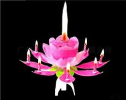 Lámpara de pétalo online-2017 Pink Scented Candles Offer Candle Lamp No Velas Rojo Decorativas Hermoso Regalo de Cumpleaños Flower Music Lotus New Candles Petal for Party