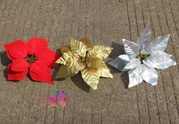 Wholesale Silk Poinsettias - Homegrown artificial flowers silk flowers Christmas poinsettia flower heads Red Gold  Silver