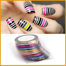 Wholesale Nail Art Tips Striping Tape - 35 Colors Fashion Women Ladies Nail Rolls Striping Tape Line DIY Nail Art Tips Decoration Sticker Nails Care
