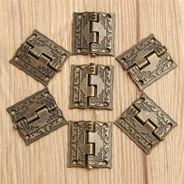 Wholesale Hinges Screws - 50pcs 50pcs 26 x 23mm 1 Inch Antique Wooden Gift Box Hinge Printing Packaging Zinc Alloy with screw