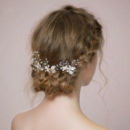Wholesale Rhinestone Pearl Hair Piece - Fashion Silver Leaves Pearl Bridal Hair Pins 3 pieces Jewelry Handmade Wedding Accessories Headpiece Rhinestone Women Prom Headdress