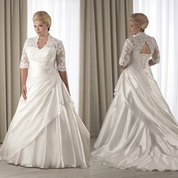 Wholesale Layered Wedding Dress Tiered - Hot Sale Plus Size A-line Half Sleeves Stain Layered Wedding Dresses Vintage High Collar Lace-up Back Court Train Bridal Gowns Custom Made