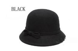 Wholesale Retro Wool Hat - Free Shipping 8 Colors Retro Bowknot 100%Wool felt Hat Floppy Bowler Fedora Cap Retail