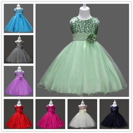 Wholesale Solid Light Blue Ball Gown - Girl's sequins lace princess dress kids ribbon bowknot flower sleeveless bubble skirt kids party performance ball gown for 2-12T