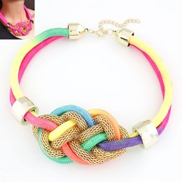 Wholesale Colorful Resin Necklace - 2015 Fashion Korean Handmade Shining Colorful Rope Chain Chocker Necklace