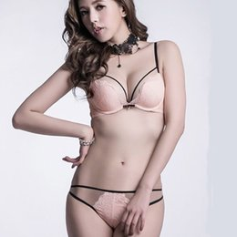 Wholesale Girls Bras Underwear - Hot sexy hollow out seductive underwear women bra set embroidery push up fashion lace lady girl thong bra briefs sets
