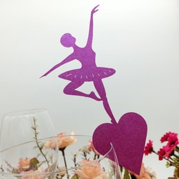 Wholesale Wine Ornaments Wholesale - 60PCS Free Shipping New Arrival Wedding Party Decorations Laser Cutting Wine Glasses Place Seat Name Cards Ballet Dancer Paper Table Decor