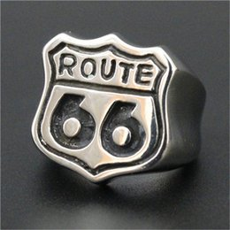 Wholesale wedding way - 1pc Free Shipping New Route 66 Punk Ring 316L Stainless Steel Man Boy Fashion USA High Way Ring