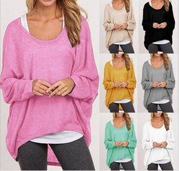 Wholesale Geometric Sweater Women - Plus Size Autumn Fall Women Irregular Baggy Knitting Sweater Casual Loose Pullover Jumper Top Hi-Low Batwing Long Sleeve Poncho hight qualit