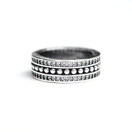 Wholesale Stylish Jewelry For Women - 925 Sterling Silver wide band Ring With Retro Stylish Gatherings CZ Ring For Women Wedding & Party Jewelry
