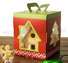 Wholesale Christmas Cookies Chocolate - 17*17*20cm Christmas Tree House Decoration Cake Candy Chocolate Box Gingerbread House Cookie Wedding Favors Boxes MYY