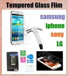 Wholesale xperia z1 screen protectors - For iphone for galaxy note 2 3 4 tempered glass Explosion Proof Film glass screen protectors Guard For sony xperia z1 z2 z3 LG G2 G3 SSC046