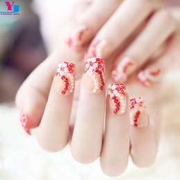 Wholesale Black False French Nails - Wholesale- Red French Press On Nails Tips 3D Flower Pearl Decorated Luxury Pre Design False Nail Tips Unha Artificiales Acrylique Nail Kit