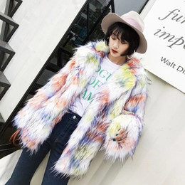 2020 trajes de helado Otoño New Ice Cream Color Faux Fox Fur Suit Solapa Casual Chaqueta C4 rebajas trajes de helado