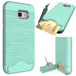 Wholesale Galaxy Pocket Back Case - for Samsung A5 Case Card Slot Case Armor Soft TPU Back Cover Case With Kickstand For Samsung Galaxy A3 A5 A7 2017