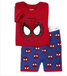 Wholesale Cute Baby Boy Pajamas - boys girls Spider man Pyjamas kids pyjamas sets spiderman baby pajamas sleepwear short sleeve children cute pajamas CY3065
