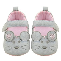 Wholesale Mouse Cartoon Baby - Wholesale- 2017 Spring Summer Baby First Walkers Infant Toddler Mouse Crib Pink+Grey Cartoon Animals Shoes Soft Sole Kid Girls Shoes Baby