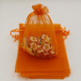 Wholesale 13x18cm Organza Bag - MIC orange With Drawstring Organza Gift Bags 7x9cm 9x11cm 13x18cm ( 332)