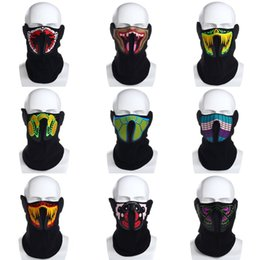 Wholesale light up costume men - Wholesale- Hot Flashing Face Mask Light Up Luminous for Outdoor Riding Cycling Halloween Party Costume Decoration Protective Half-face Mask