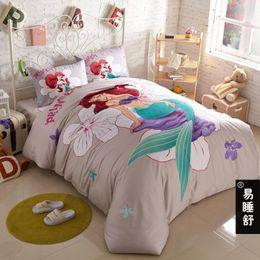 Wholesale Bedding Sets For Girls Cartoons - The little Mermaid girls cartoon bedding set twin size for kids bed sheets bedspread doona quilt duvet cover bedroom designe