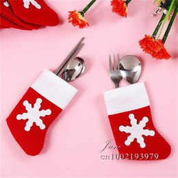 Wholesale Cheap Christmas Table Cloth - Cheap 6pcs lot Christmas Decoration Dining Table Knife Fork Restaurant Tableware Bag Cover Xmas Stockings Holiday Crafts Party Supplies SD60