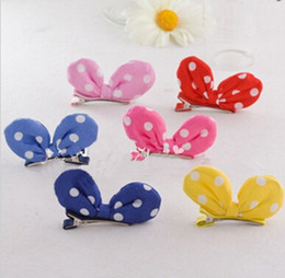 Wholesale Tiara Rings Wholesale - Mini Wave point dot printing bunny ears bow hair clip hair accessories hair ring hair rope headdress flower headband Baby Hair Clips HD3312
