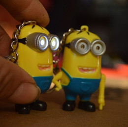 Wholesale Despicable Talking - Mini LED Flashlight Keychain Despicable Me Minions LED Key Chain For Bags talk press button say I love you one eyeminions Torch Sound