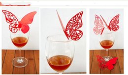 Wholesale Butterfly Name Place Cards - 2014 New Butterfly Laser Cut Glass Cards Name Place cards Table Cards Wedding Party Favors Table Decoration 8 Color to choose free shipping