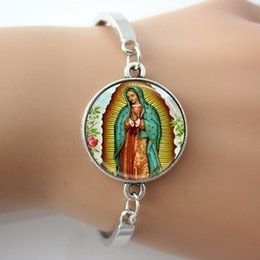 Wholesale Christmas Religious Art - 4 Our Lady of Guadalupe Bracelet,Silver-plated Virgin Mary Religious Catholic Glass dome bangle,Bezel Art Pendant photo bangles