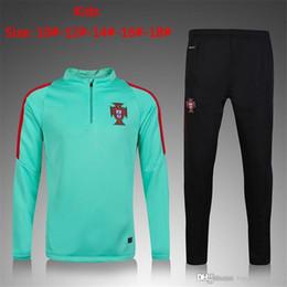 Wholesale Short Jacket Long Sleeve - 2017 survetement football Portugal boys long sleeve soccer jackets 2017 kids ronaldo nani training suit sweatshirts tracksuits jogging set