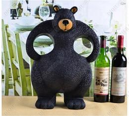Wholesale Furniture Bearing - Cute black bear shaped two bottle holder for homes decoration resin animal creative wine bottle holder unique furniture