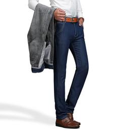 Wholesale Fleece Lined Jeans - Wholesale-Dark Blue Color Winter Warm Jeans For Men Fleece Lining Straight Jeans Y06