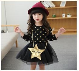 Wholesale Nets Dress New Style - Baby Girls Princess Dress 2018 Autumn New Children Long Sleeve Stars Printed Dresses Kids Lace Net Yarn Stitching Tutu Skirt Cute Girl Dress