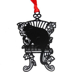 Wholesale Chair Card - 25pcs Stainless Steel Black Chair Cat Bookmark Book card For Wedding Baby Shower Party Birthday Favor Gift Souvenirs