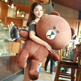 Wholesale Stuffed Easter Toys - Stuffed Brown Bear Cony Rabbit 27inches Line Friends Plush Soft Toy Couple Anime Brown Bear Cony Decor Toy for Kids Birthday Christmas Gift
