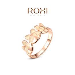 Canada 015 ROXI 2014 Livraison gratuite Rose or plaqué Romantique Cute Cat Ring Déclaration Fashion Jewelry For Women Party Wedding Best Gift cheap statement rings roxi Offre